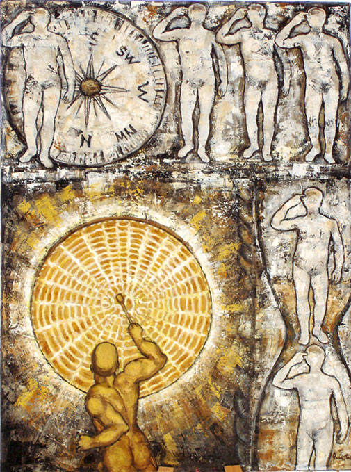Composizione-con-il-Grande-Gong-(serie-L'Uomo-Seriale)olio-tela-cm-60x80-2011
